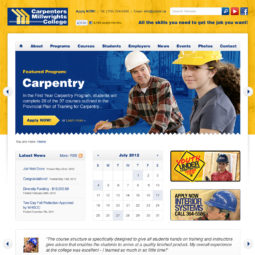 Carpenters Millwrights College Website Design and Development - Home