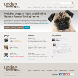 Under My Wing Pug Rescue Website Design and Development - Home